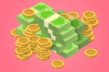 创意现金金币堆矢量素材
