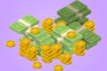 立体现金和金币矢量素材