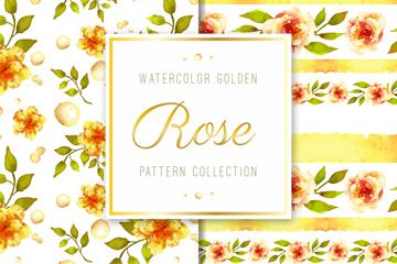 2款水彩绘金色花卉无缝背景矢量图