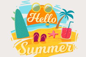 ��意夏季沙�┧��g字矢量素材