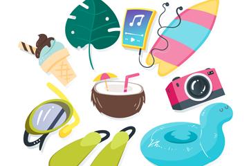 9款创意夏季旅行物品矢量素材