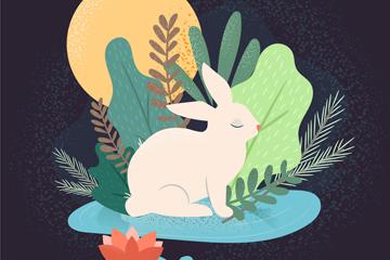 ��意中秋�月亮白兔矢量素材
