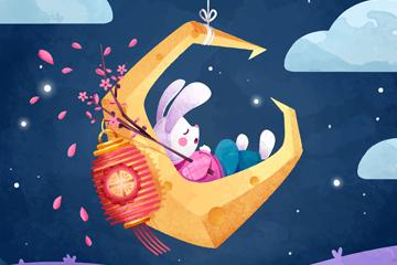 卡通中秋�月亮上睡著的兔子矢量�D
