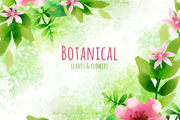 水彩�L粉色花卉矢量素材
