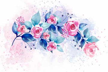 水彩�L玫瑰花枝矢量素材