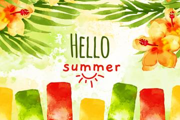 水彩�L夏季花草和雪糕矢量�D