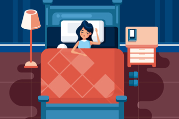 创意夜晚睡眠女子矢量素材