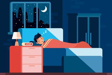 创意卧室睡眠男子矢量素材