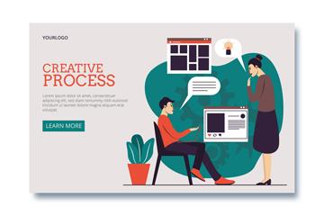 创意人物设计网站着陆页矢量素材