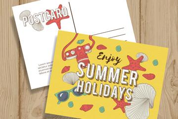 手绘夏季假期明信片矢量素材