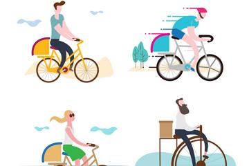 4款创意单车快递员矢量素材