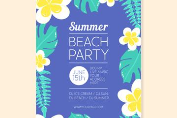 创意花卉夏季派对传单矢量素材