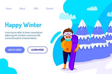 创意快乐冬季网站着陆页矢量素材