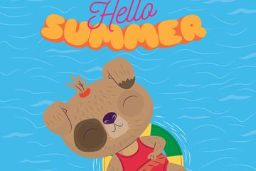 卡通夏季海上度假狗矢量�D