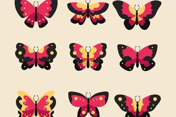 9款红色蝴蝶设计矢量素材