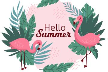 彩色夏季火烈鸟矢量素材