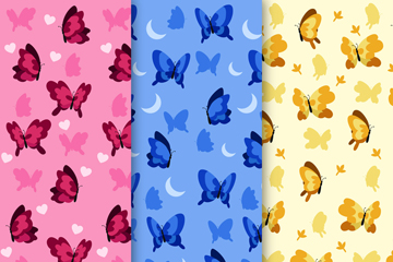 3款彩色蝴蝶无缝背景矢量图