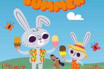 可爱夏季吃雪糕的兔子矢量图