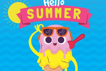 卡通夏季冰淇淋�O�矢量素材