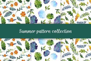 3款水彩绘夏季花草无缝背景矢量图