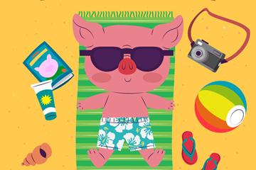 卡通海边度假的猪矢量素材