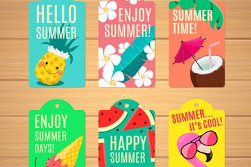 6款彩色夏季吊(diao)牌矢量素材
