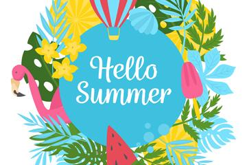 彩色夏季元素框架�O�矢量素材
