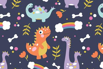 卡通恐龙无缝背景矢量素材