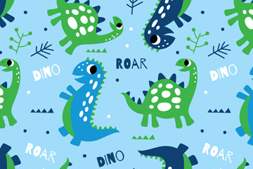 可爱恐龙无缝背景矢量素材