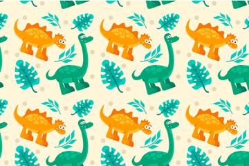创意恐龙和树叶无缝背景矢量图