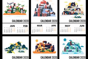 2020年��意建筑年�v矢量素材