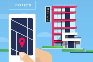 创意预定酒店的手机矢量图