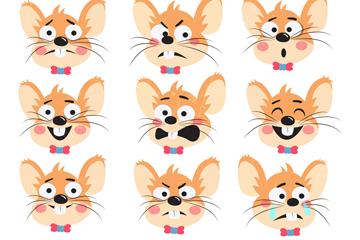 9款卡通老鼠表情矢量素材