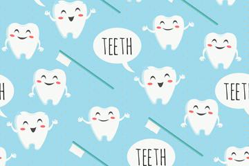 可爱牙齿无缝背景矢量素材