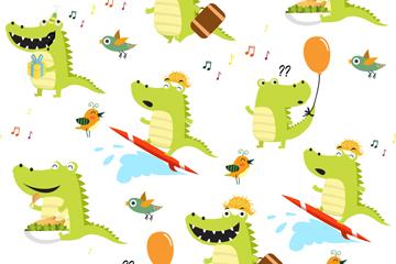 可爱鳄鱼无缝背景矢量素材