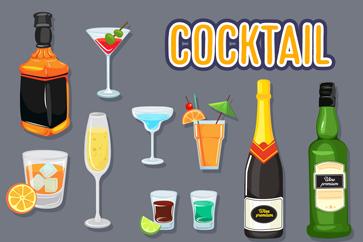 10款创意鸡尾酒及原料设计矢量素材