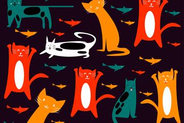 彩色猫咪和小鱼无缝背景矢量图