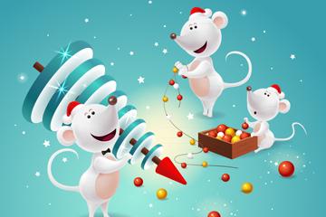 2020年卡通老鼠新年�R卡矢量素材