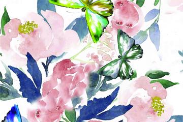 水彩�L花卉蝴蝶矢量素材