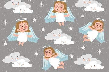 白色天使无缝背景矢量素材