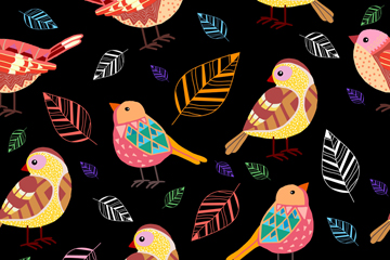 彩色鸟类和树叶无缝背景矢量图