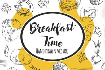 手绘早餐是无缝背景矢量素材