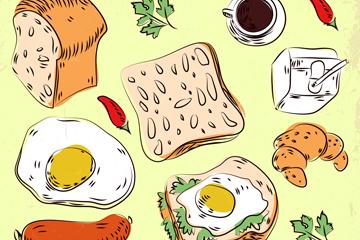 14款彩绘早餐食物设计矢量素材