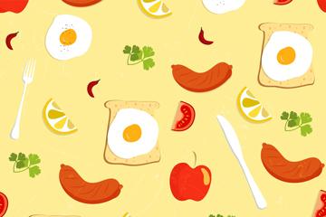 彩色早餐食物无缝背景矢量素材