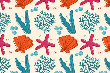 彩绘珊瑚海草海星无缝背景矢量图