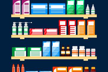 创意摆满药品的货架设计矢量素材