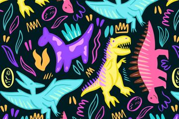 彩绘恐龙无缝背景矢量素材