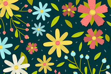彩色花朵暗色背景矢量素材