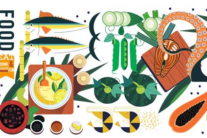 创意美味食物俯视图矢量素材