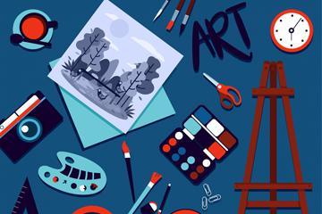 19款创意绘画用品矢量素材